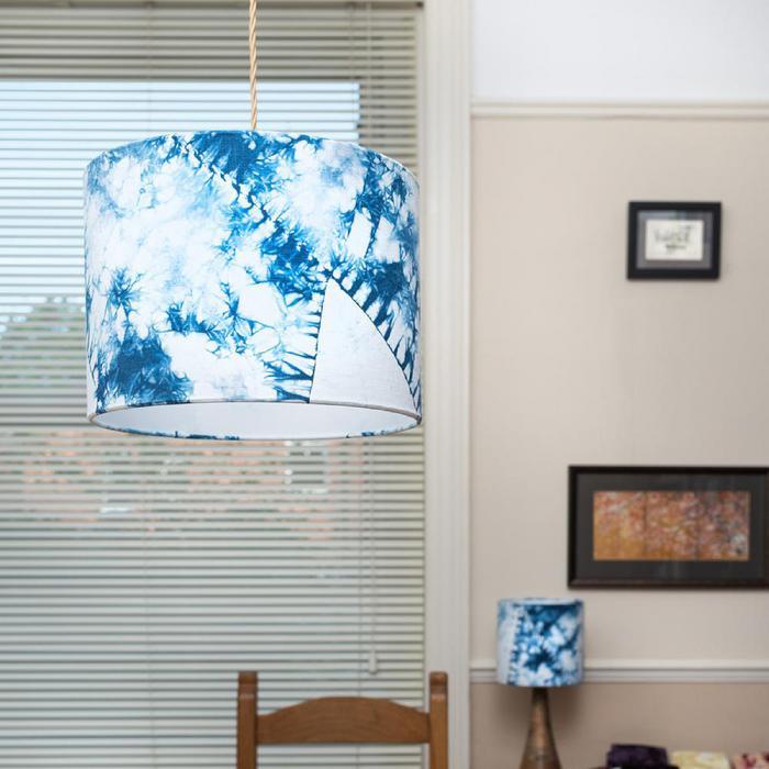 Indigo blue orimaki shibori lampshade - Top Drawer 2019