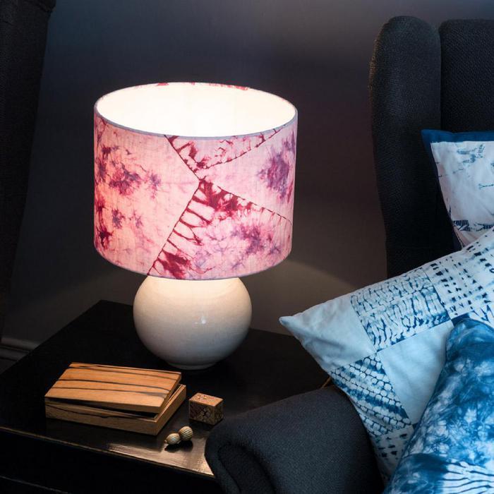 Burgundy orimaki shibori lampshade - Top Drawer 2019 - The